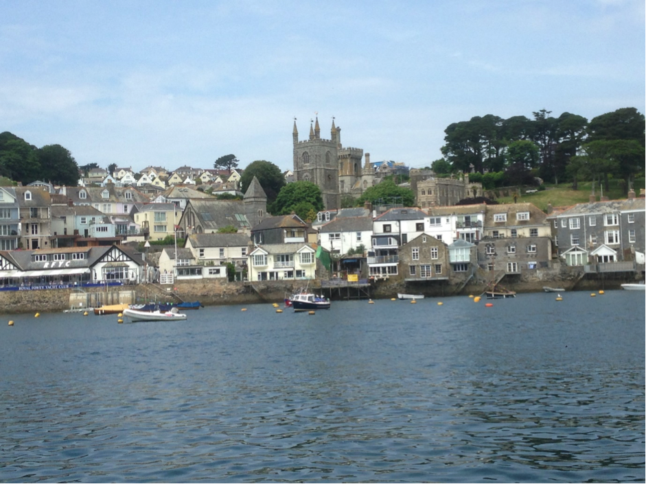 View of Fowey with the Yacht Club on the left
